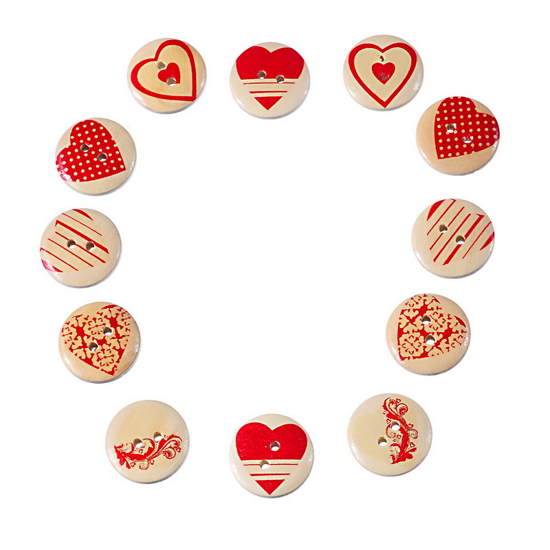 Wooden Buttons Mixed Red heart pattern Round 2-holes sewing scrapbooking 20mm