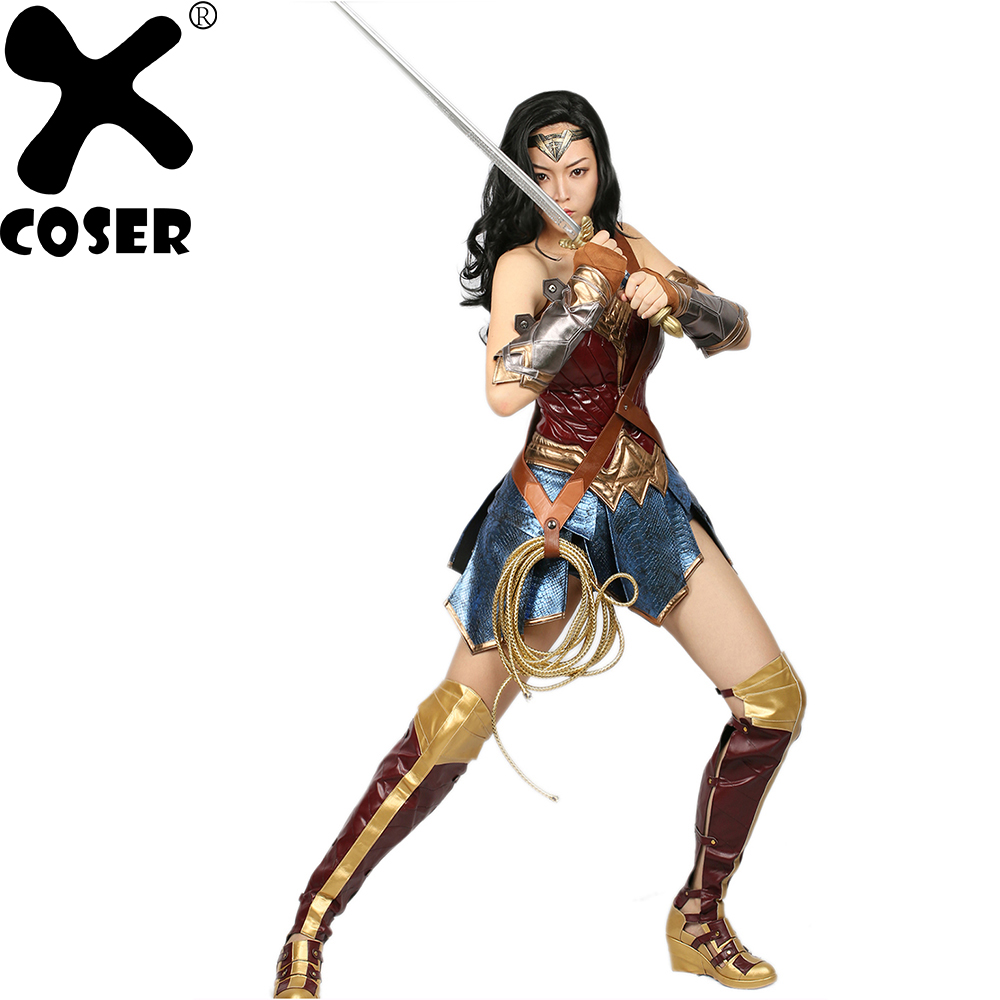 XCOSER Wonder Woman Costume DC Comic Superhero Cosplay Outfit Sull de Costume Carnaval Afficher Halloween Costume pour les Femmes Adultes Taille