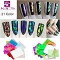 21 Colores/set 3D Holográfico Láminas de Vidrio Roto Espejo Pegatinas de Dedo Del Arte Del Clavo Brillo Stencil Decal Manicura DIY Diseño herramientas