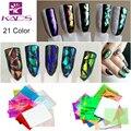 21 Cores/set 3D Holográfica Vidro Quebrado Espelho Adesivos Glitter Estêncil do Dedo Da Arte Do Prego Foils Decalque DIY Projeto Manicure ferramentas