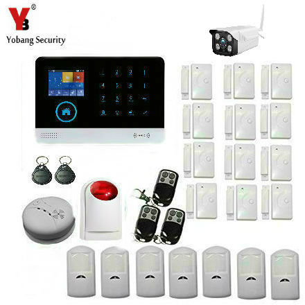YobangSecurity Wireless WiFI Home Alarm System GSM GPRS Alarm System with Video IP Camera Smoke Fire Detector Wireless Siren yobangsecurity gsm wifi gprs wireless home business security alarm system with wireless ip camera smoke fire dual motion sensor