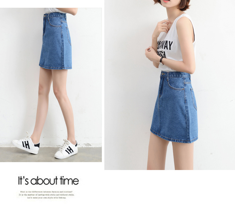 Lucyever Fashion Korean Summer Women Denim Skirt High Waist Black Mini Skirts Package Hip Blue Jeans Harajuku Plus Size Cotton 15