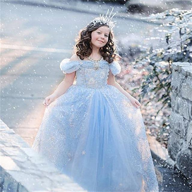 Original Princess Snow White Cinderella Dresses Costumes: Girls Fantasy Cinderella Princess Dresses Ball Gowns Kids
