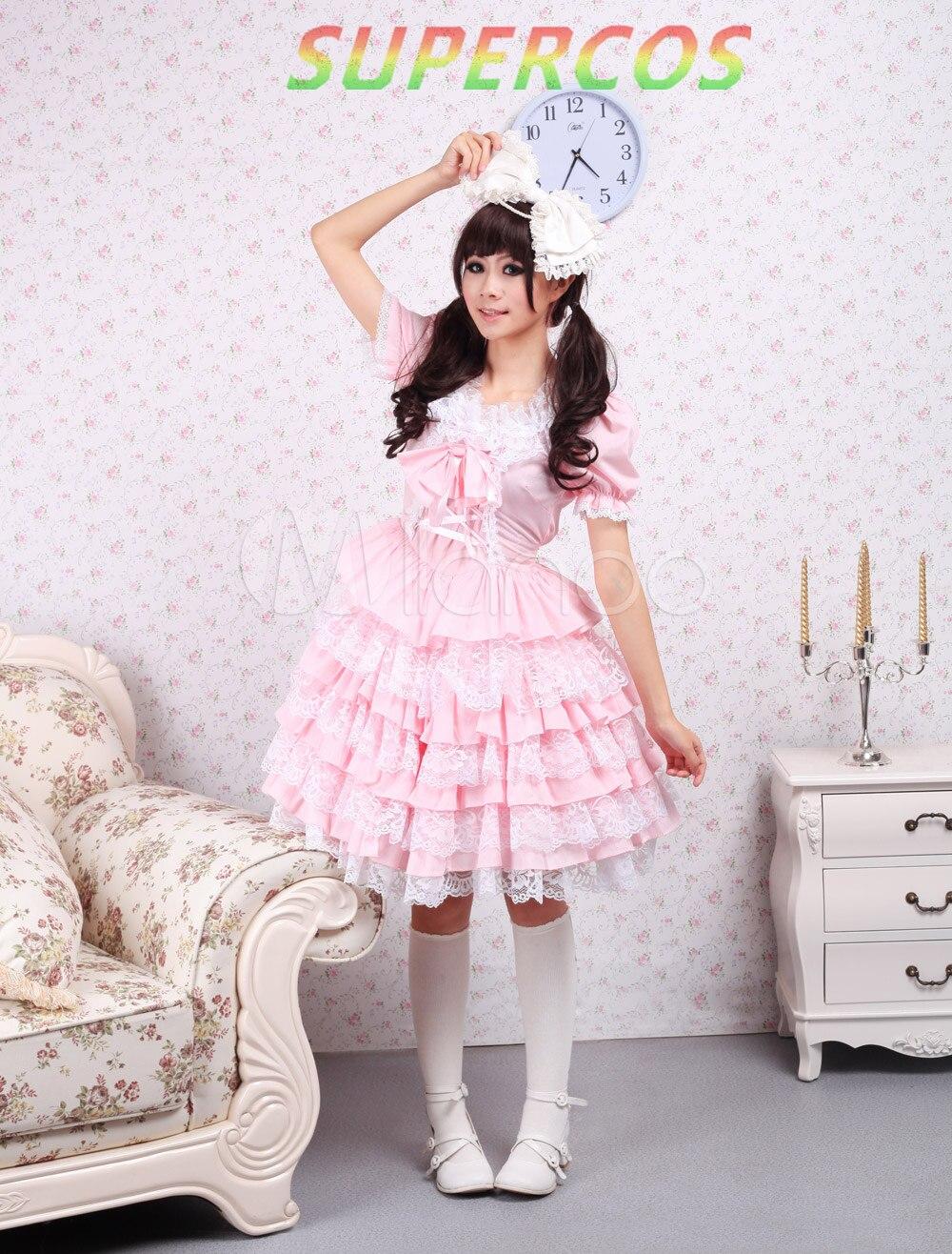 Envío libre! ¡ Nuevo! Alta calidad! Algodón rosa Encaje vestido ...