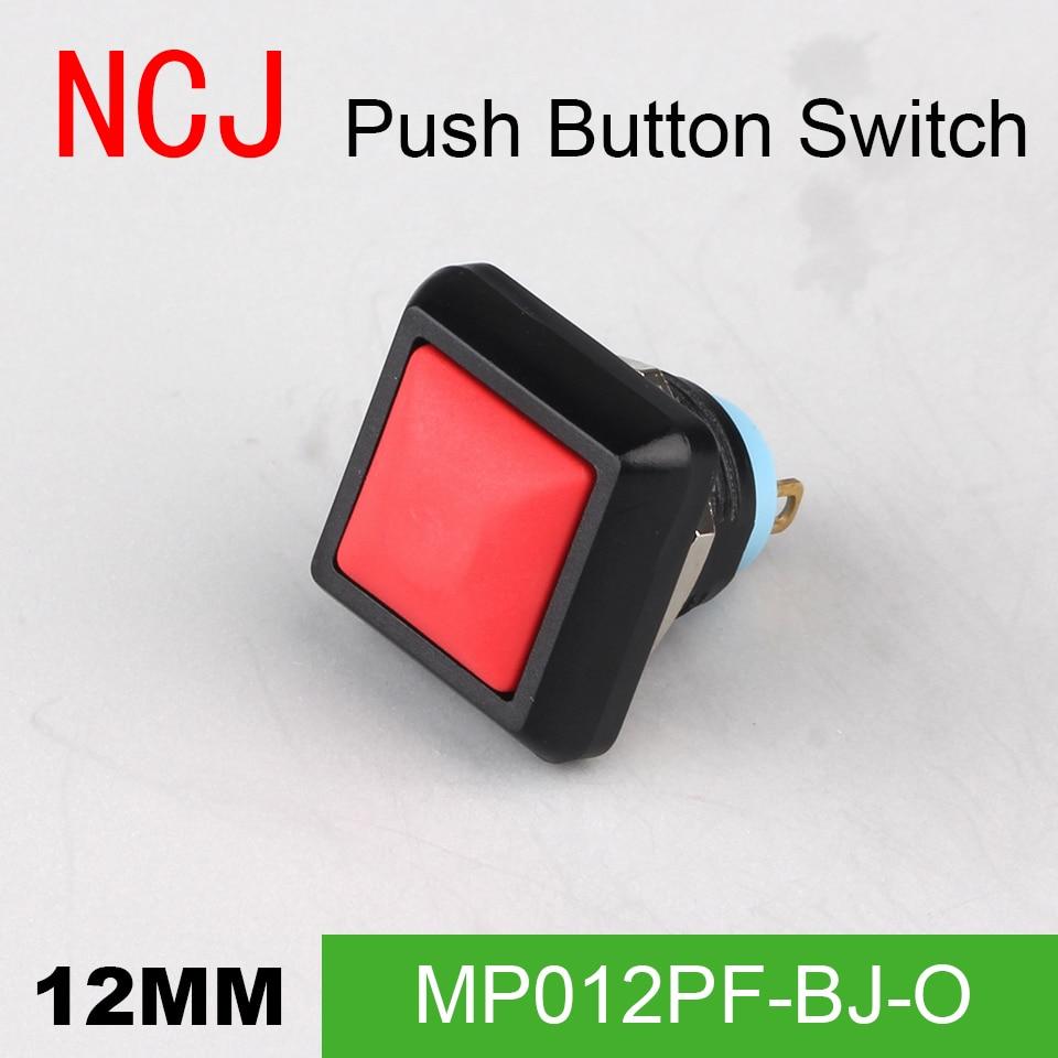 NCJ MP12 PC Square Push Button Switch Momentary seven color 2A