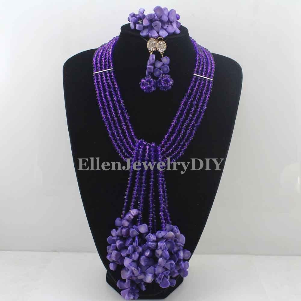 2016 nigérian mariage africain corail perles ensemble de bijoux violet corail perles collier bijoux ensemble livraison gratuite W12967