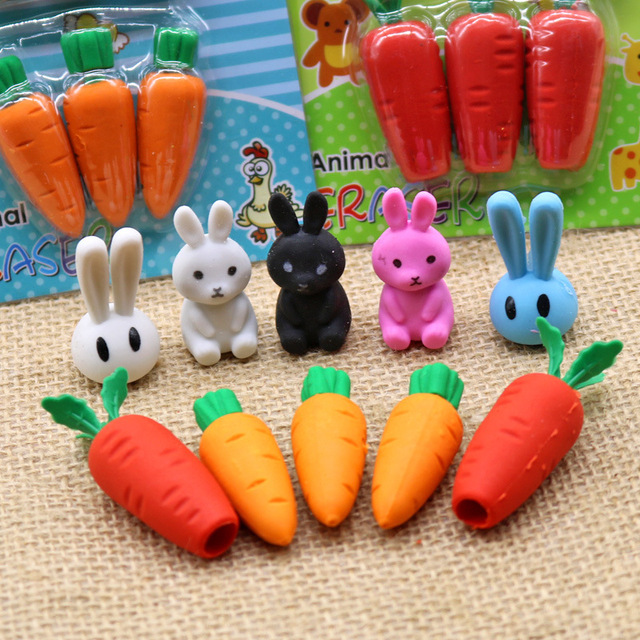 Novelty Stationery Cartoon Creative Bunny Carrot Erasers  Student Animal Card Pack Rubber Kindergarten Gift Prize by Smttw