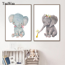 TAAWAA Kids Wall Art Elephant Nursery Nordic Posters And Prints Animals Canvas Painting Pictures Baby Girl Boy Room Decor