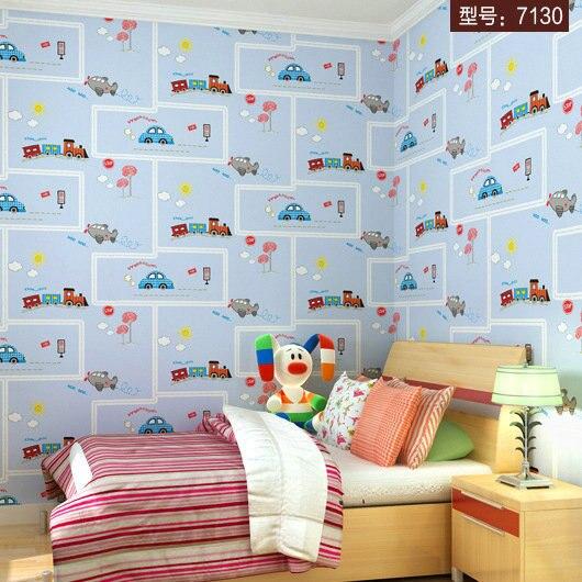 ... Cartoon Train Car Wallpaper Children Bedroom Wall Paper Boys Room Wall  Covering Decoration Mural Wallpaper 3d ...