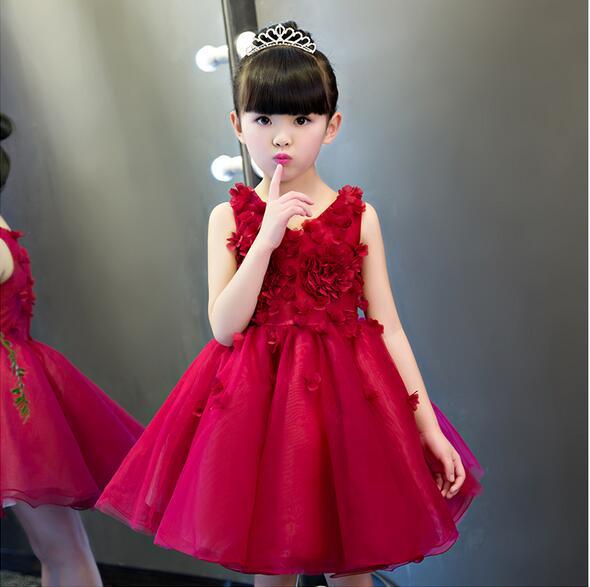 Red 3D Flower Princess Girl Dress Baptism Rose Party Wedding Birthday Gown  kids tutu dress for girls dresses clothes Summer 0a92d5f54947