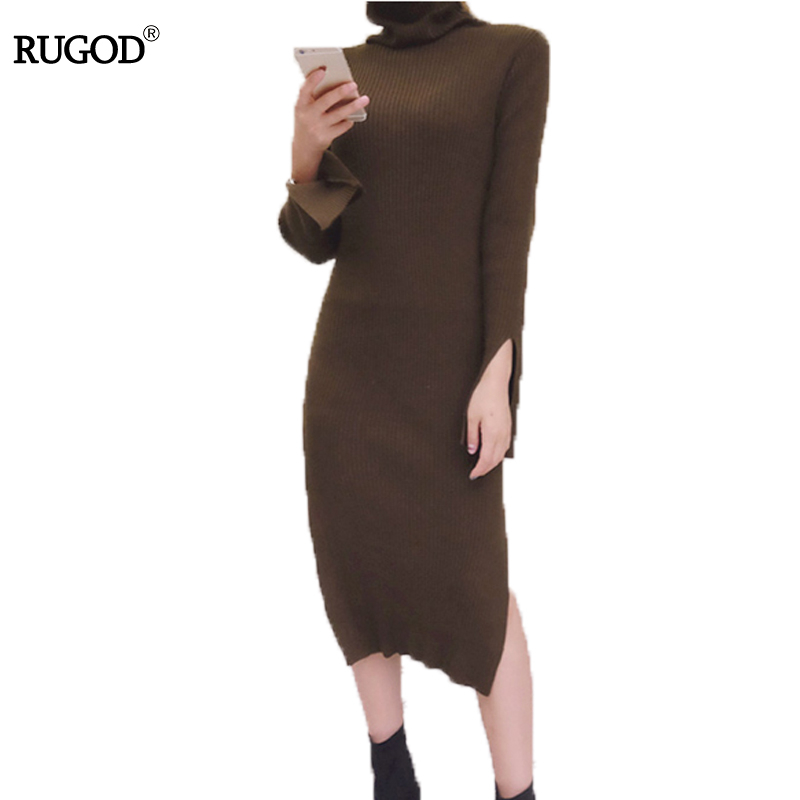 RUGOD Casual turtleneck long knitted sweater dress women Cotton slim bodycon dress pullover female Autumn winter