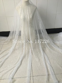 JRB-1691 on sale embroidery lace for evening dress special hand print glued glitter lace fabric