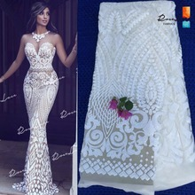 African White Sequins Net Lace Fabric 2017 Style Nigeria Sequined Swiss Mesh Tulle Lace For Women Party Wedding Dress Fabrics