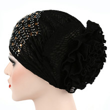 New Women Muslim Hair Accessories  Turban Hat Loss Hijab Flower Elastic Mesh Chemo Cap Cancer A415