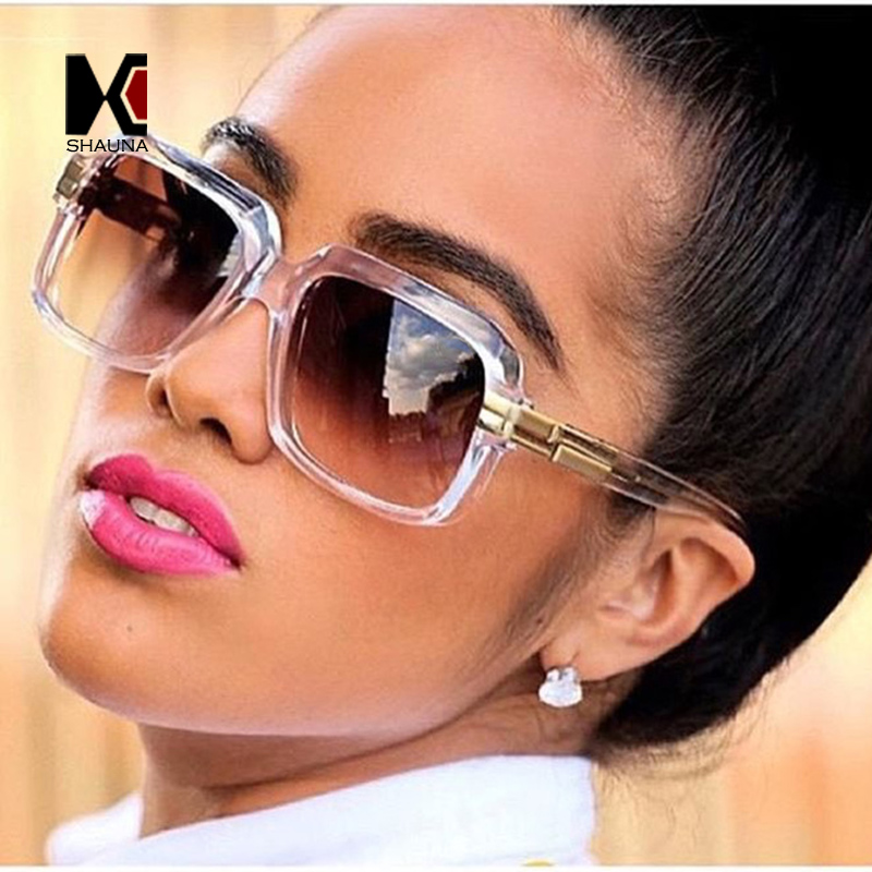 d0000dd7ffee SHAUNA Popular Oversize Women Square Sunglasses Brand Designer Fashion Men  Transparent Frame Gradient/Clear Lens Glasses UV400-in Sunglasses from  Apparel ...