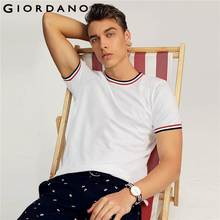 37432a25e8d4 Giordano Men Tee Cotton Short Sleeves Tshirt Contrast Crewneck Tops Male  Fashion Summer Outfit 2018 Series