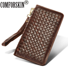 COMFORSKIN Brand Carteira Masculina Retro Genuine Leather European and American Large Capacity Knitting Style Clutch Coin Purse