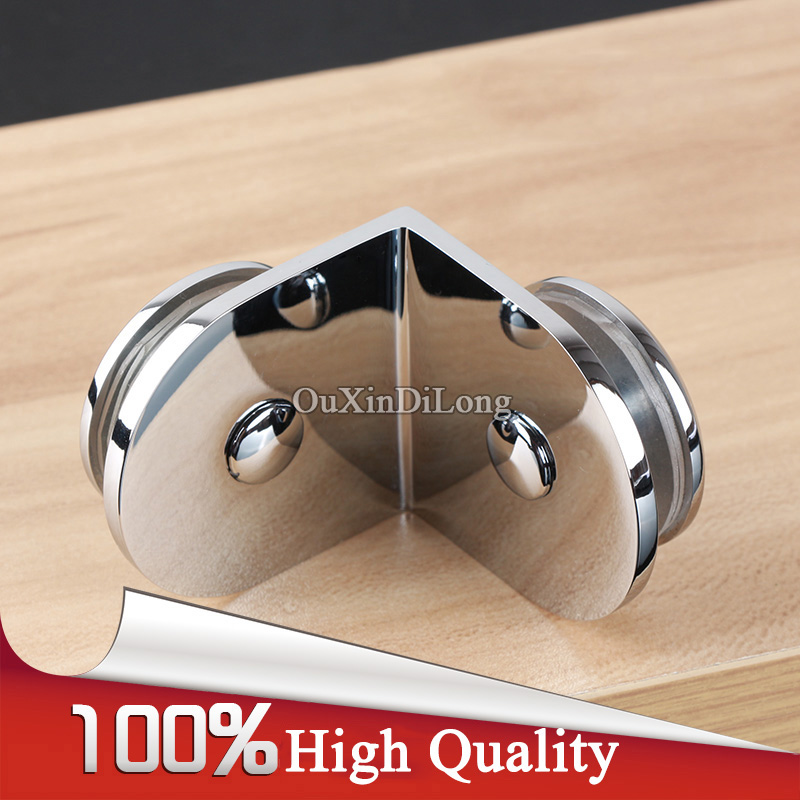 High Quality 4PCS Brass Frameless Bathroom Shower Glass Clamps Clips 90 Degree Glass Door Fixed Holder Brackets for 6 12mm Glass in Glass Clamps from Home Improvement