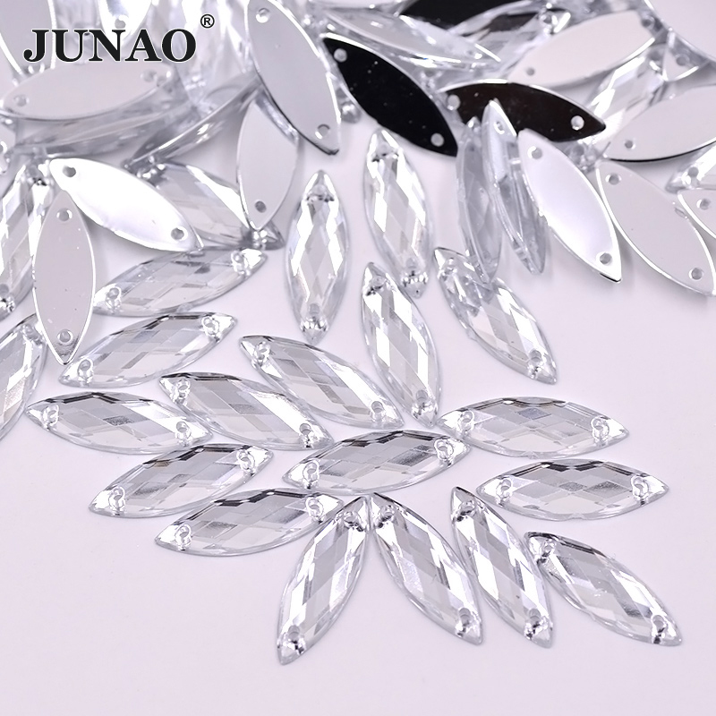 JUNAO Sewing Flatback Clear Crystal Rhinestones Sew On Strass Crystals Stones Horse Eye Shape Acrylic For Clothes Dress