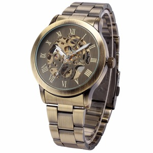 Image 3 - SHENHUA Luxury Brand Bronze Men Skeleton Mechanical Watches Male Clock Stainless Steel Strap Fashion Casual Automatic Watch