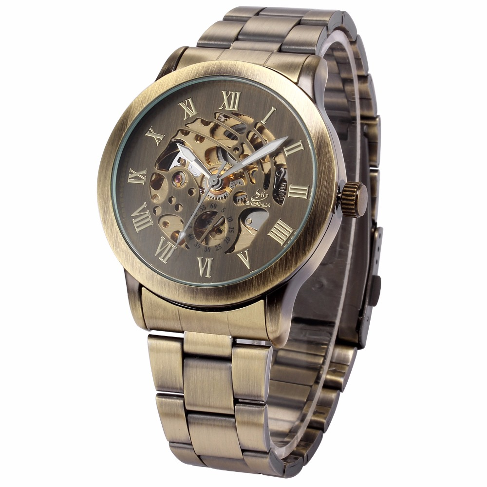 Image 3 - SHENHUA Роскошные брендовые бронзовые Мужские механические часы с скелетом, мужские часы с ремешком из нержавеющей стали, модные повседневные автоматические часы-in Механические часы from Ручные часы on AliExpress - 11.11_Double 11_Singles' Day