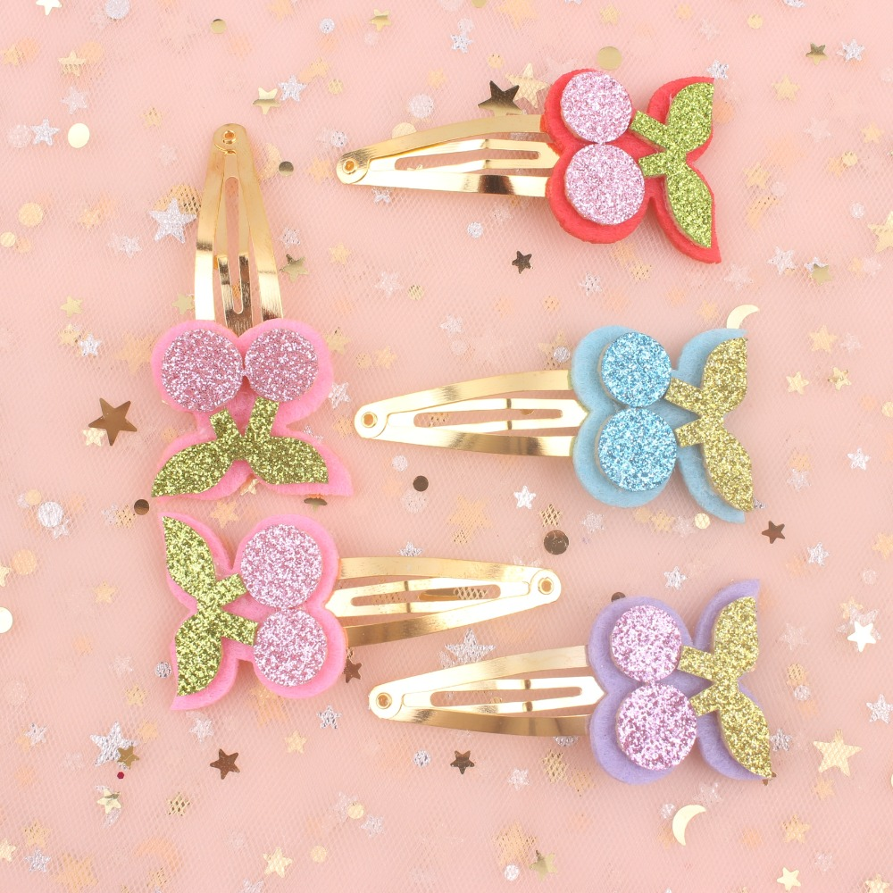 pink Red Sky Blue Purple Hair Accessories For Kids Clip Women Barrettes 1pcs 2019 New Fruit Cherry Girls Gold Bb Hairpin