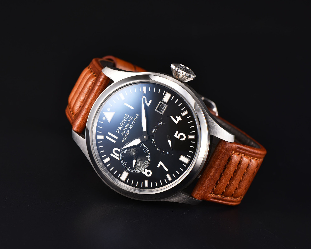 Hot Sale 43mm Men Watch Parnis SeaGull Automatic Watches Black PVD Case White Dial Luminous Numbers Business Men's Wristwatch  casual 43mm parnis automatic power reserve white dial blue numbers silver watch case business watch men