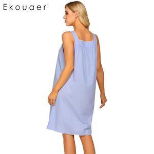 Image 5 - Ekouaer женская ночная рубашка из 100% хлопка, летнее платье без рукавов с v образным вырезом, плиссированная свободная ночная рубашка, женская одежда для сна