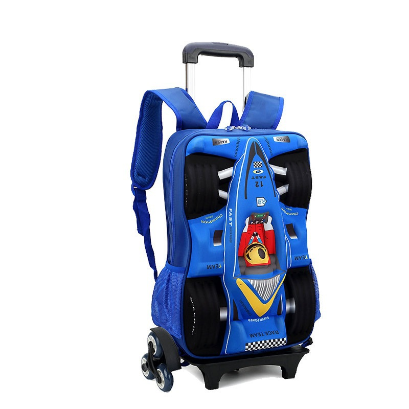 Rolling EVA Children School Wheeled Bags 3D Car Racing Design Trolley Suitcase Kids Bag 2015