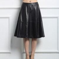 Svadilfari Women Genuine Leather Skirt Soft Sheepskin Black Plus Size Ladies Real Leather Skirts Women S