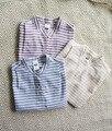 Verano de los bebés del algodón de lino blusas niños del collar del soporte de la manga del batwing de rayas camisetas niños moda coreano clothing