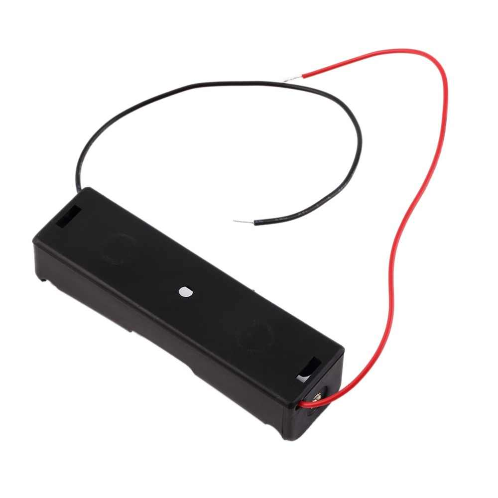 New Plastic 18650 Battery Case Holder Storage Box with Wire Leads for 18650 Batteries 3.7V Black Wholesale