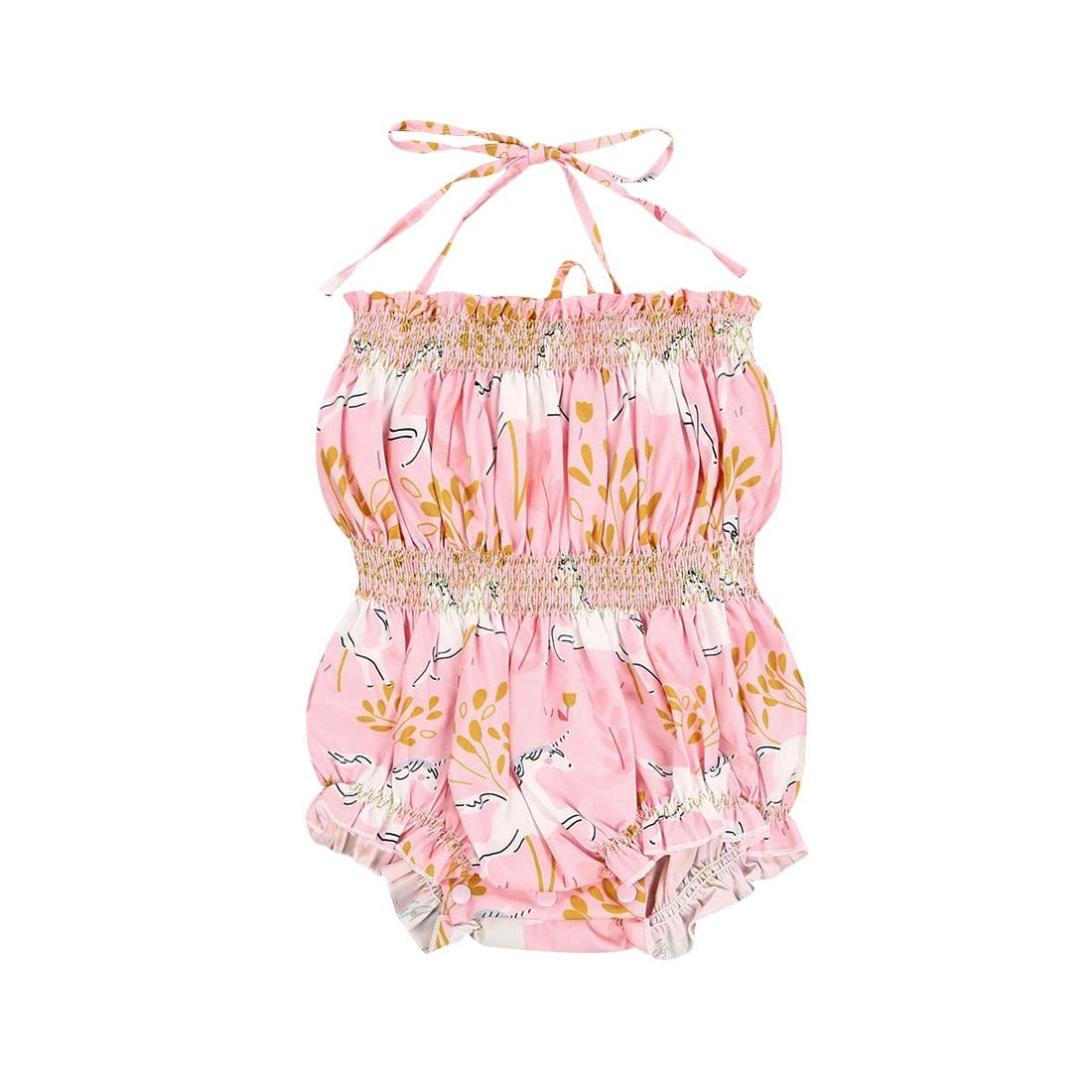 2018 Newborn Baby Girls Unicorn Sleeveless Halter Romper Floral Sunsuit Summer Kids Clothes Outfits