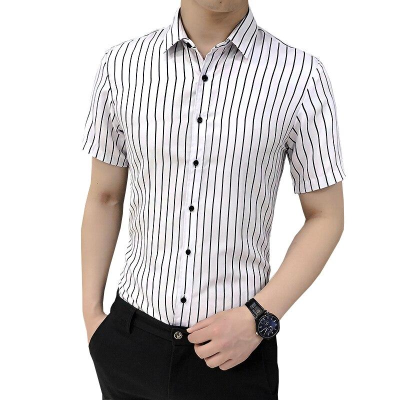 Hot Sale Cotton Men Shirt Short Sleeve Striped Solid Plaid Male Business Shirt Brand Clothing Formal Shirt Man Office Work Shirt