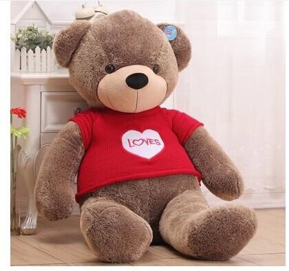 100 cm loves bear plush toy throw pillow red sweater cloth teddy bear doll gift w3882100 cm loves bear plush toy throw pillow red sweater cloth teddy bear doll gift w3882