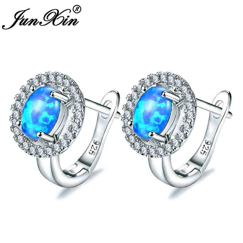 Female Oval Cut Rainbow Blue Fire Opal Earrings White Gold Vintage Zircon Engagement Wedding Hoop Earrings For Women Ear Jewelry