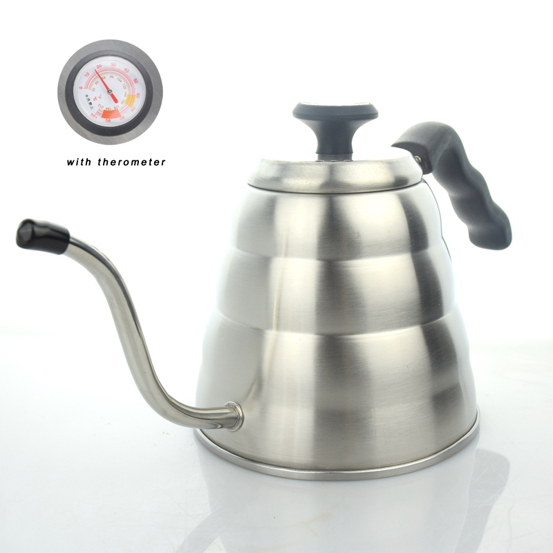 Pour Over Tea Pot Gooseneck Pots For Stove 1.2l Stainless Steel Coffee Water Kettle With Thermometer 2018 New Stocked