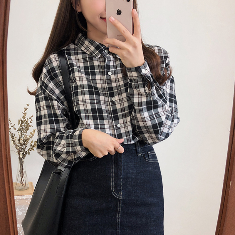 Long Sleeve Plaid Shirt Women 2019 Black And White Blouse Cotton Cosual Button Korean Fashion Womens Clothing Tops Plus Size in Blouses amp Shirts from Women 39 s Clothing