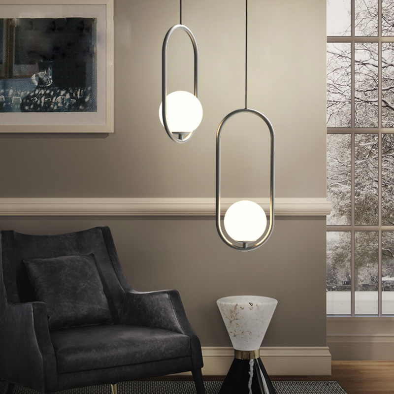 Modern iron ring Pendant Lights white glass ball CafeRoom/Bar Lamp Single Glass Pendant Lamps Decoration Indoor Lighting E27