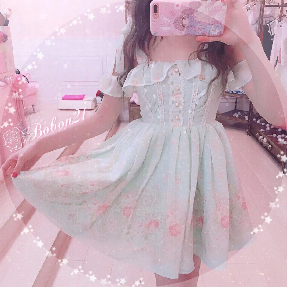 공주 달콤한 로리타 드레스 bobon21faerie 바로크 장미 꽃 레이스 레이스 strapless 쉬폰 드레스 d1469-에서드레스부터 여성 의류 의  그룹 3
