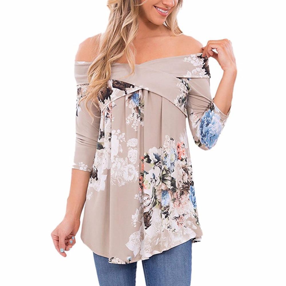 Plus size S-3XL Fashion Floral Print Blusas 2017 Autumn Shirt Women Sexy Off shoulder Slash Neck 3/4 Sleeve Tops Casual t shirt