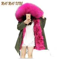 Fashion woman army green Large raccoon fur collar hooded coat parkas outwear detachable fox fur lining winter long jacket