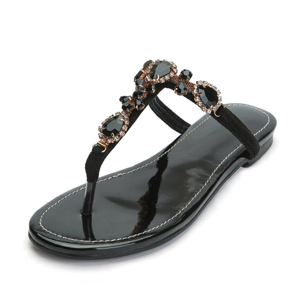 Karinluna luxe grande taille 47 personnalisé haut loisirs qualité femmes chaussures femme été Csystals sandales décontractées tongs - 2