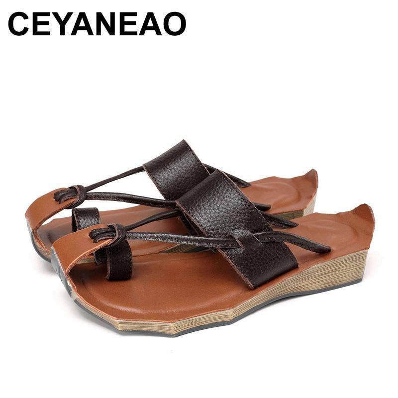 CEYANEAO 2018 Women Sandals Genuine Leather Handmade Shoes Fashion Flip Flops 8125