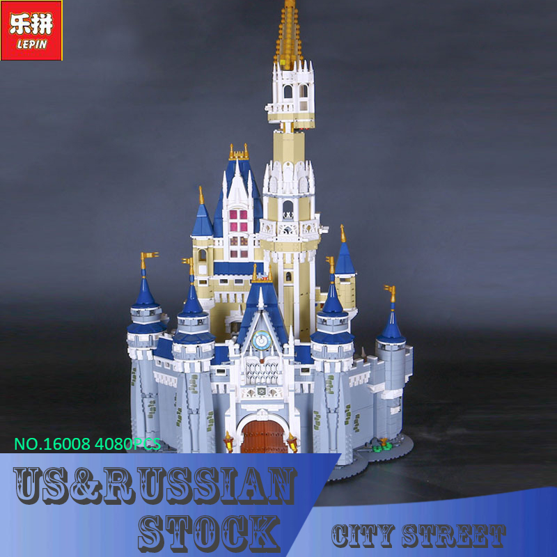 LEPIN 16008 Creator Cinderella Princess Castle City 4080pcs Model Building Block Children Toy Gift Compatible 71040 lepine 16008 cinderella princess castle 4080pcs model building block toy children christmas gift compatible 71040 girl lepine