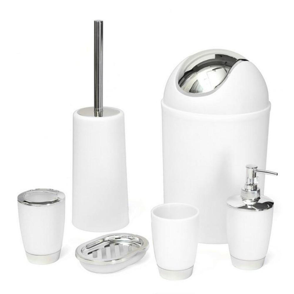 6Pcs/set Bathroom Accessory Bin Soap Dish Dispenser Tumbler ...