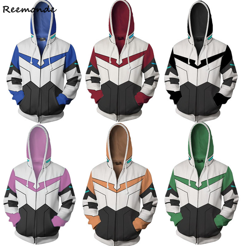 Voltron Rance Keith Lance Sven Pidge Cosplay Costumes 3D Printed Zipper Hoodies Sweatshirts Jackets For Women Men Boys Halloween