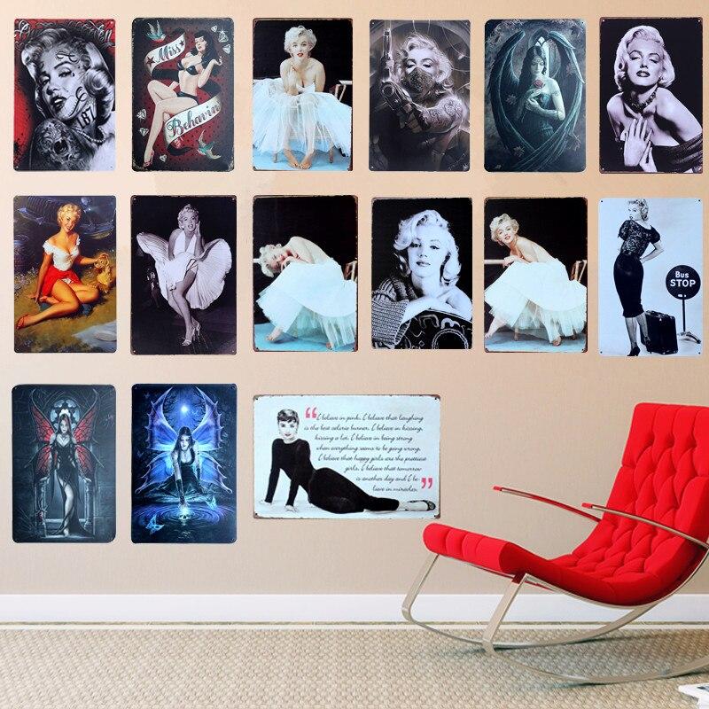 Shabby Chic Sexy Lady Vintage Metallo Segni Bar Pub Casa Decor Retro Targa Wall Sticker Piatti Decorativi Wall Art Poster A507