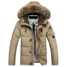 Мужская куртка-пуховик, 90% утиный пух, теплая зимняя куртка для мужчин-30 градусов, зимняя верхняя одежда для мужчин, с капюшоном, с меховым воротником, ветрозащитная верхняя одежда, пуховики