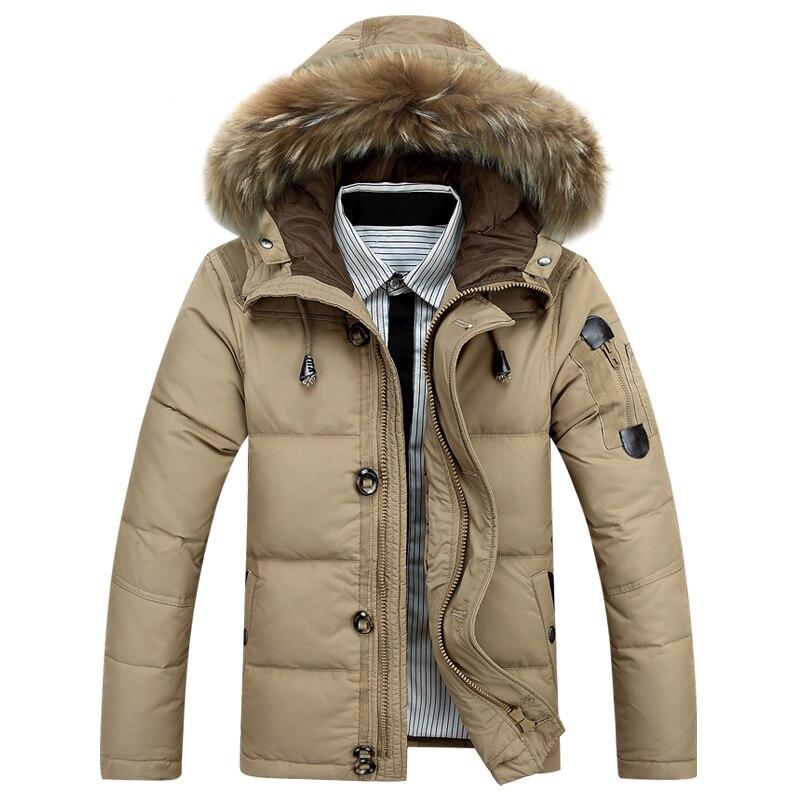 Por los hombres chaqueta 90% pato abajo invierno cálido Jackest hombres-30 grados nieve Outwear con capucha FurCollar viento abajo abrigos